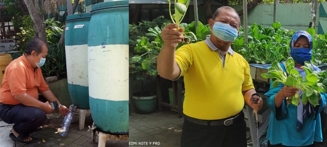 M. Ismail, S.Pd., kepala sekolah SDN Sidotopo 1/255 Surabaya, memanen pupuk cair organik (KIRI). Panen sayuran hidroponik tahun 2020 (KANAN)
